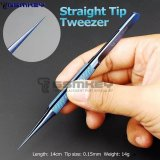 2UUL blueT Straight Head Titanium Alloy 0.1mm Blue Tweezer for Precise Wire Jump