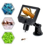 "4.3"" LCD Digital USB Microscope magnifier with 1-600X Continuous Magnification Zoom,8 LED Adjustable Light Source,Micro-SD Storage,Rechargeable Battery Camera Video Recorder"