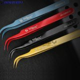 Dazzle Colour Stainless Steel Curved Mouth Tweezers Electronic Components Multi-Function Clip Resistant Repair Tools